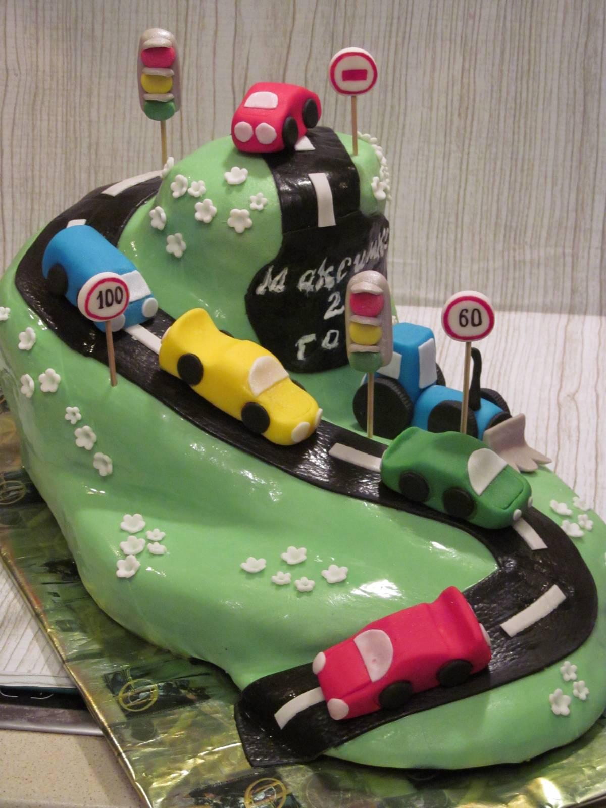 Как украсить торт для мальчика, Торт на день рождения 75